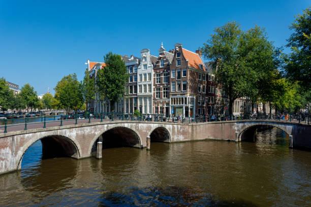 amsterdamse gracht en bruggen - keizersgracht stockfoto's en -beelden