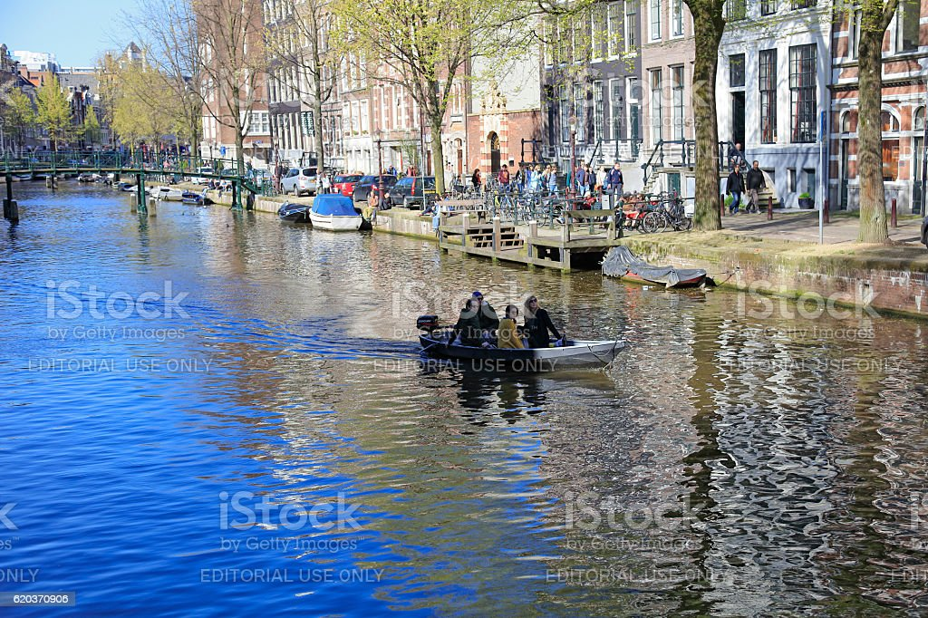 Amsterdam canal and traditional houses, Netherlands zbiór zdjęć royalty-free