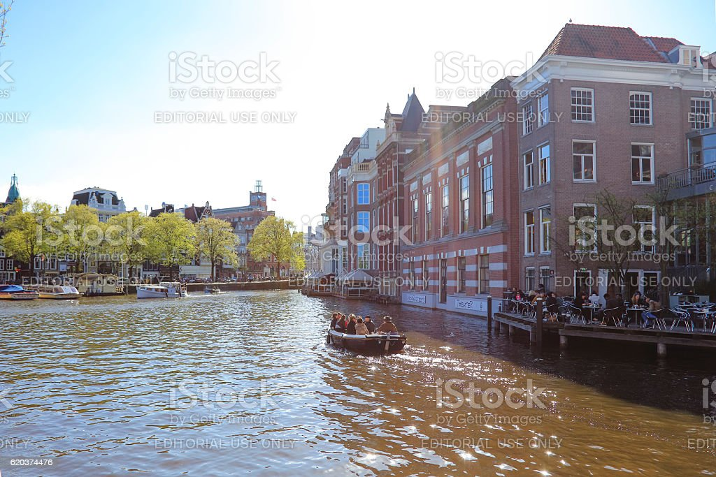 Amsterdam canal and traditional houses, Netherlands zbiór zdjęć royalty-free