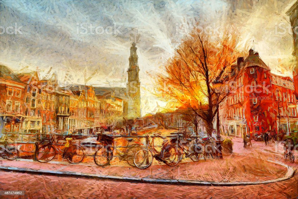 Amsterdam canal at evening impressionistic painting stock photo