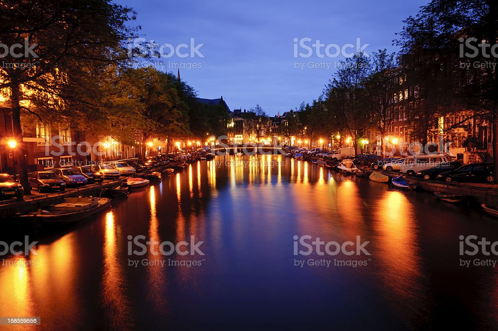 Amsterdam canal at night royalty-free stock photo