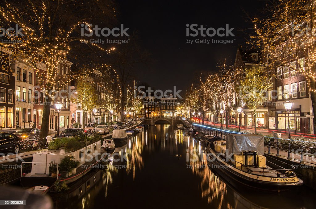 Amsterdam Canal at Night​​​ foto