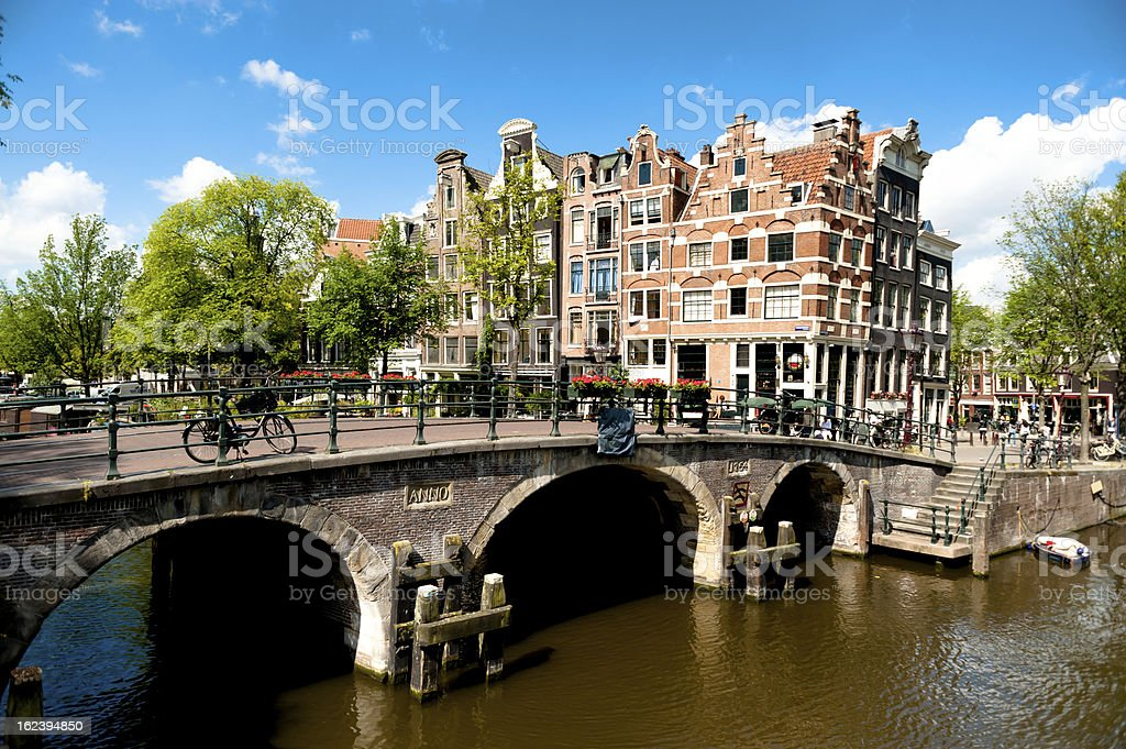 Amsterdam Canal Bridge and Buildings stock photo