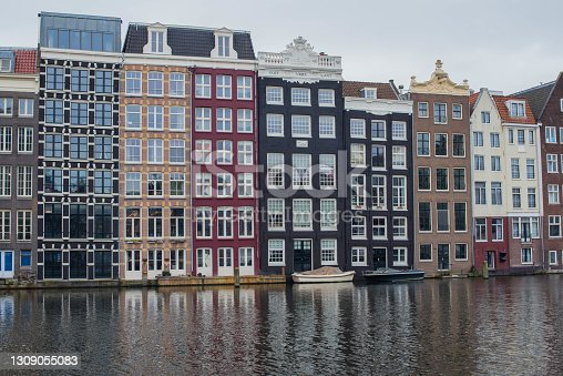 Amsterdam canal houses and their reflections in the water