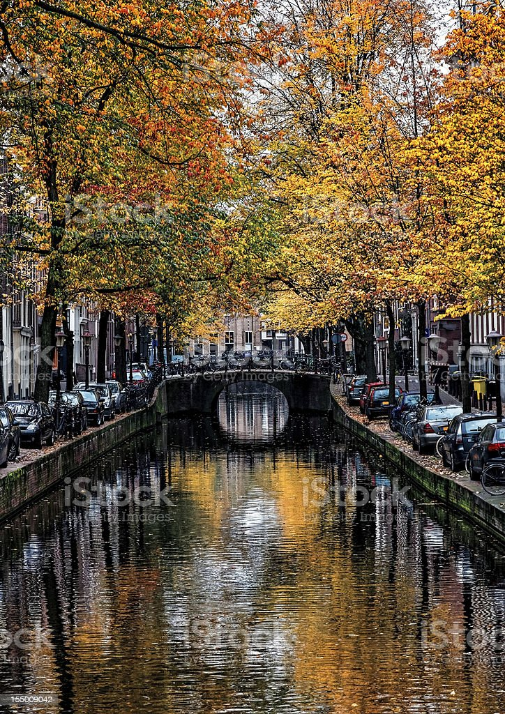 Amsterdam Canal in Autumn stock photo