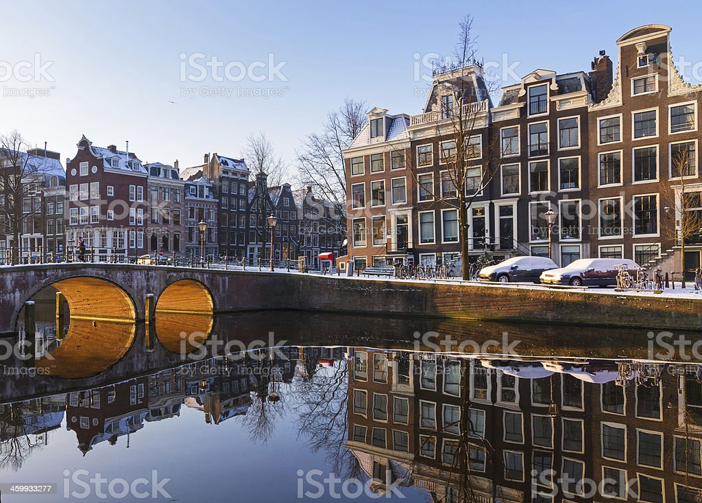 Amsterdam canal light reflection stock photo