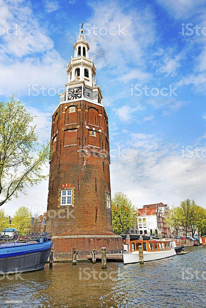 Amsterdam canal, Munttoren (tower) in Centrum royalty-free stock photo