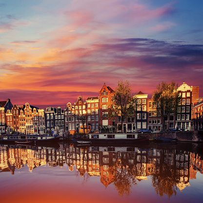 Amsterdam Canal On The West Amsterdam Is The Capital Stock Photo - Download Image Now
