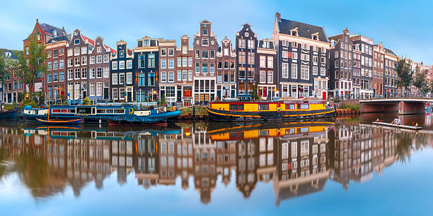 Amsterdam canal Singel with dutch houses stock photo