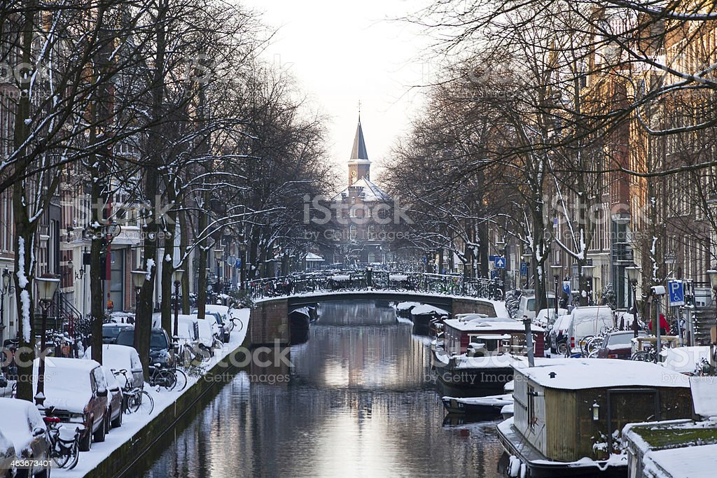 Amsterdam canal winter stock photo
