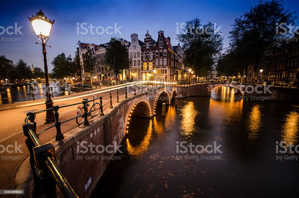 Amsterdam Canals at Sunset stock photo