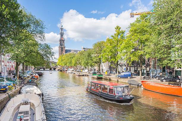 Amsterdam Canals Boat Tour stock photo