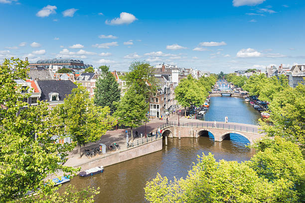Amsterdam Canals from above stock photo