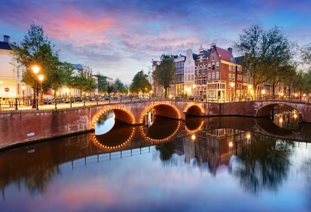 amsterdam-grachten westkant in de schemering natherlands, europa - keizersgracht stockfoto's en -beelden