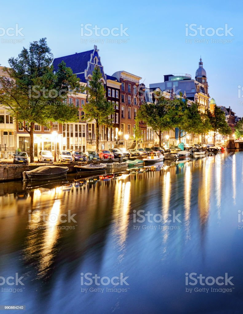 Amsterdam Canals West side at dusk Natherlands stock photo