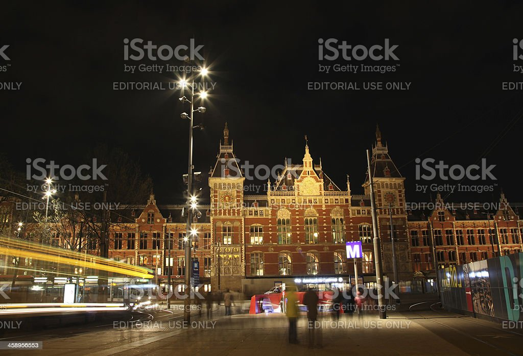 Amsterdam Central Station at Night royalty-free stock photo