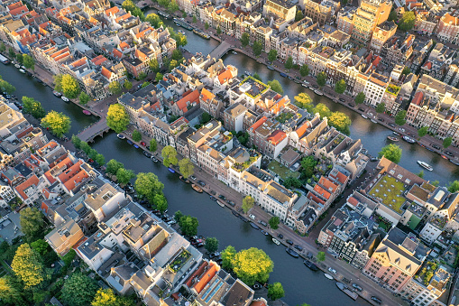 Amsterdam Centrum Channels with Homes. Aerial Sunset Panorama. Converted from RAW.