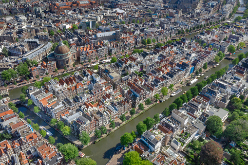 Amsterdam Centrum Rooftop Aerial Panorama, Netherlands. Converted from RAW.