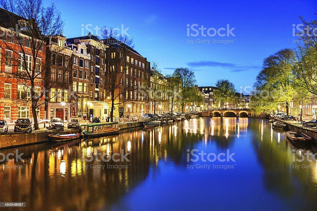 Amsterdam City Scene Water Canal at Night stock photo