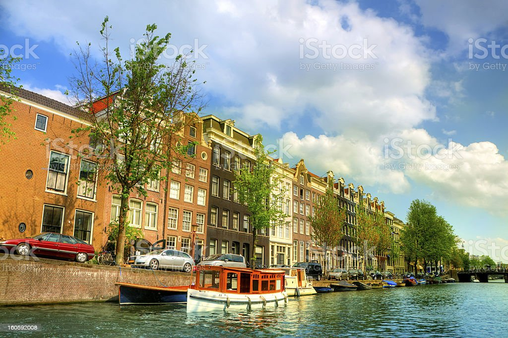 Amsterdam City Scene Water Canal royalty-free stock photo