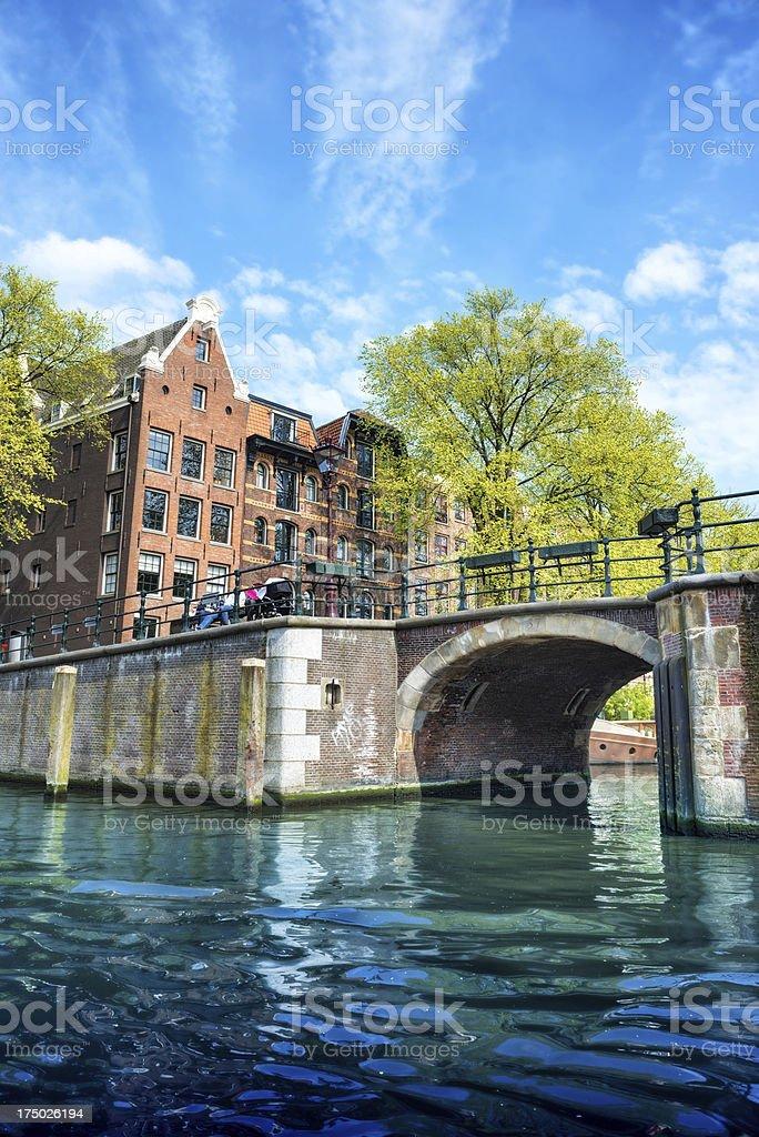 Amsterdam City Scene Water Canal stock photo