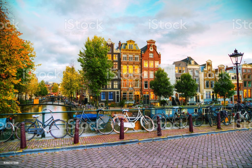 Amsterdam city view with canals and bridges stock photo