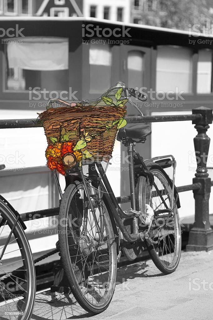 Amsterdam city with bicycle against canal  in Holland stock photo