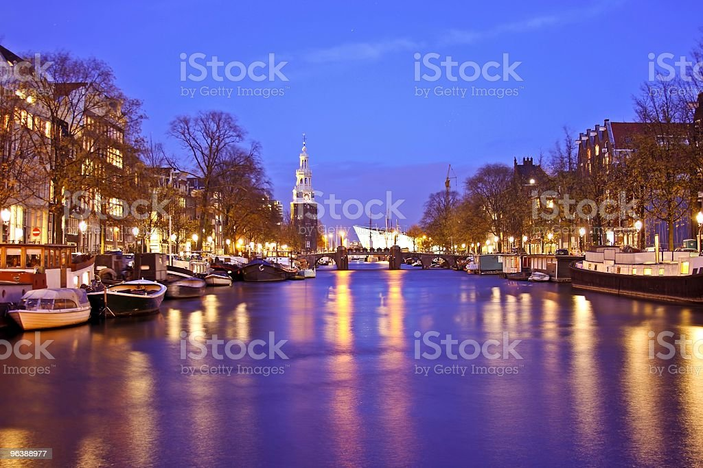 Amsterdam citycenter by night in the Netherlands - Royalty-free Amsterdam Stock Photo