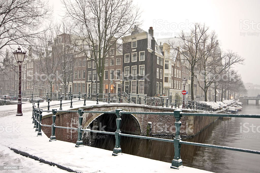 Amsterdam citycenter in the Netherlands during snowstorm - Royalty-free Amsterdam Stock Photo
