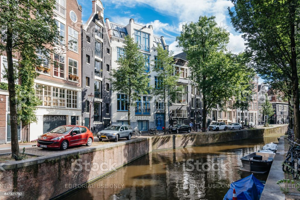 Amsterdam cityscape, canal houses in Red Light District stock photo