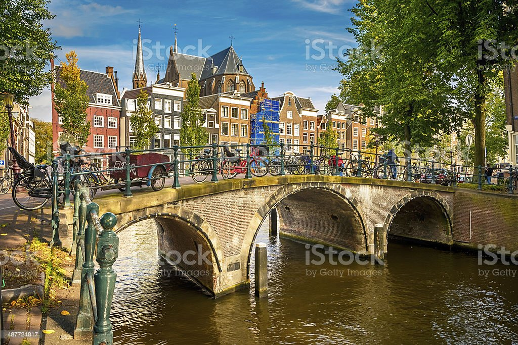 Amsterdam cityscape stock photo