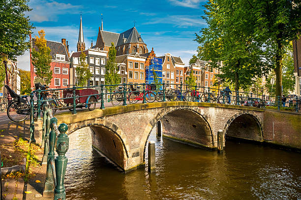 Paisaje urbano de Amsterdam - foto de stock