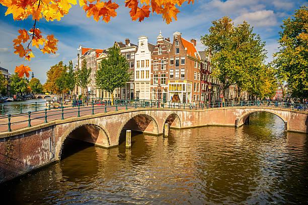 amsterdam cityscape - keizersgracht stockfoto's en -beelden