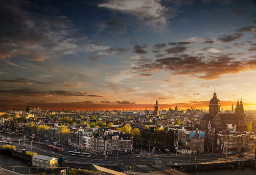 Amsterdam cityscape - View over the cathedral and old town canals. Netherlands.