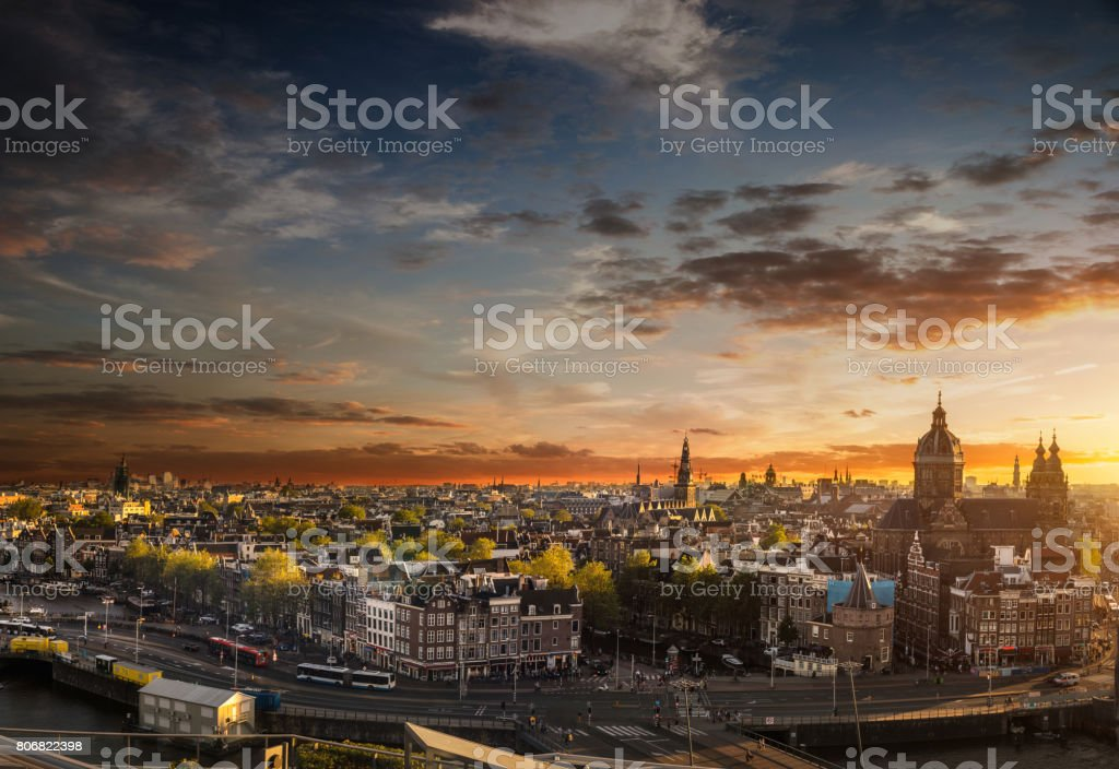 Amsterdam cityscape - View over the cathedral and old town stock photo