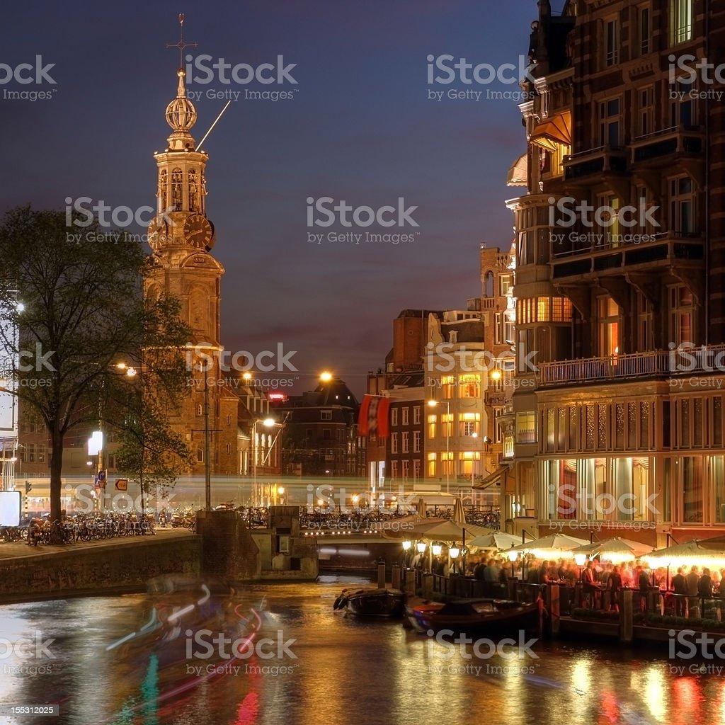 Amsterdam corner at night, The Netherlands stock photo