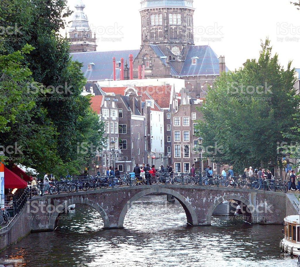 Amsterdam crowded bridge stock photo