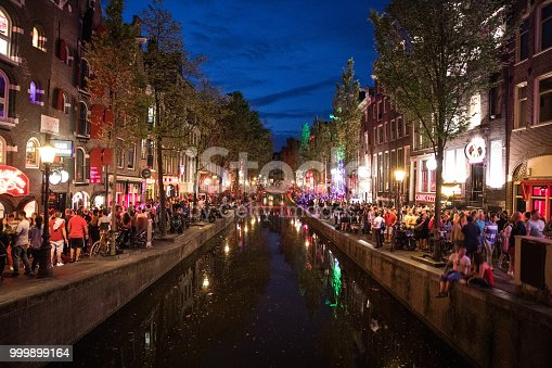 Amsterdam crowded city street in the red light district  Note for inspectors: hope this works for the