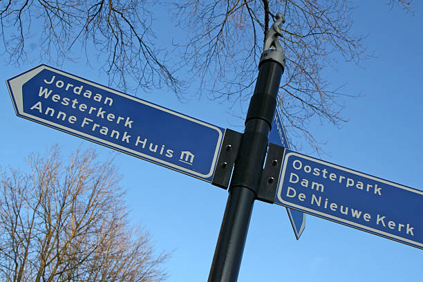amsterdam, direction sign - westerkerk stockfoto's en -beelden