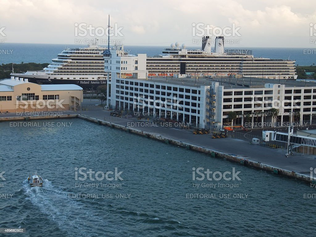 MS Amsterdam docked in Fort Lauderdale, Florida stock photo