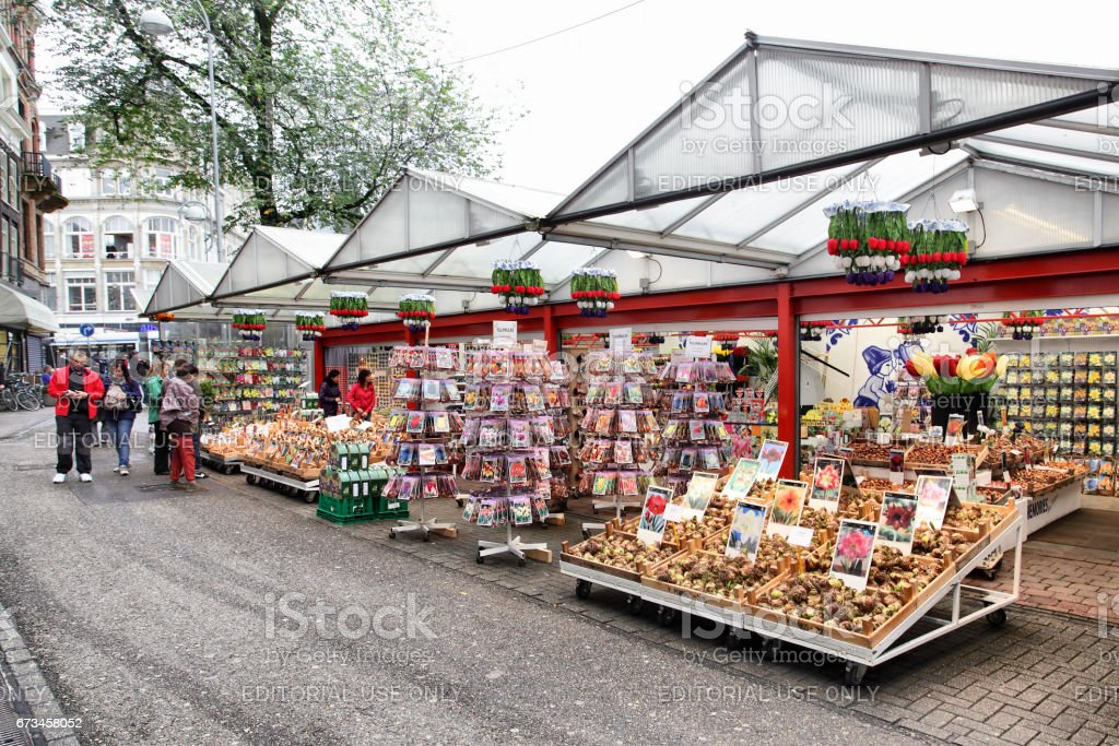 Amsterdam flower market stock photo