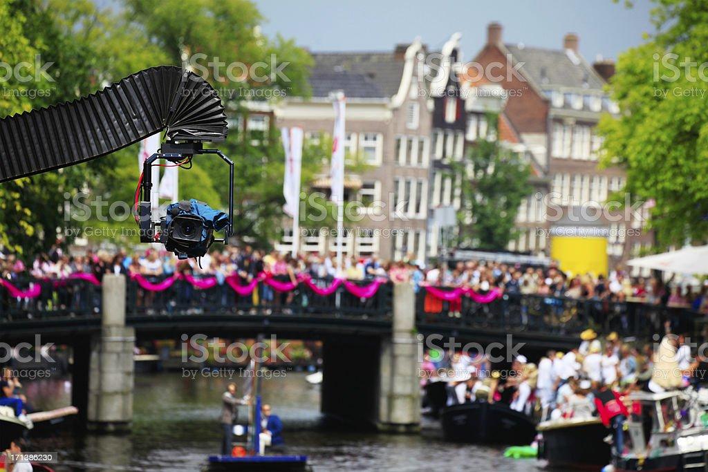 Amsterdam gay canal Parade royalty-free stock photo