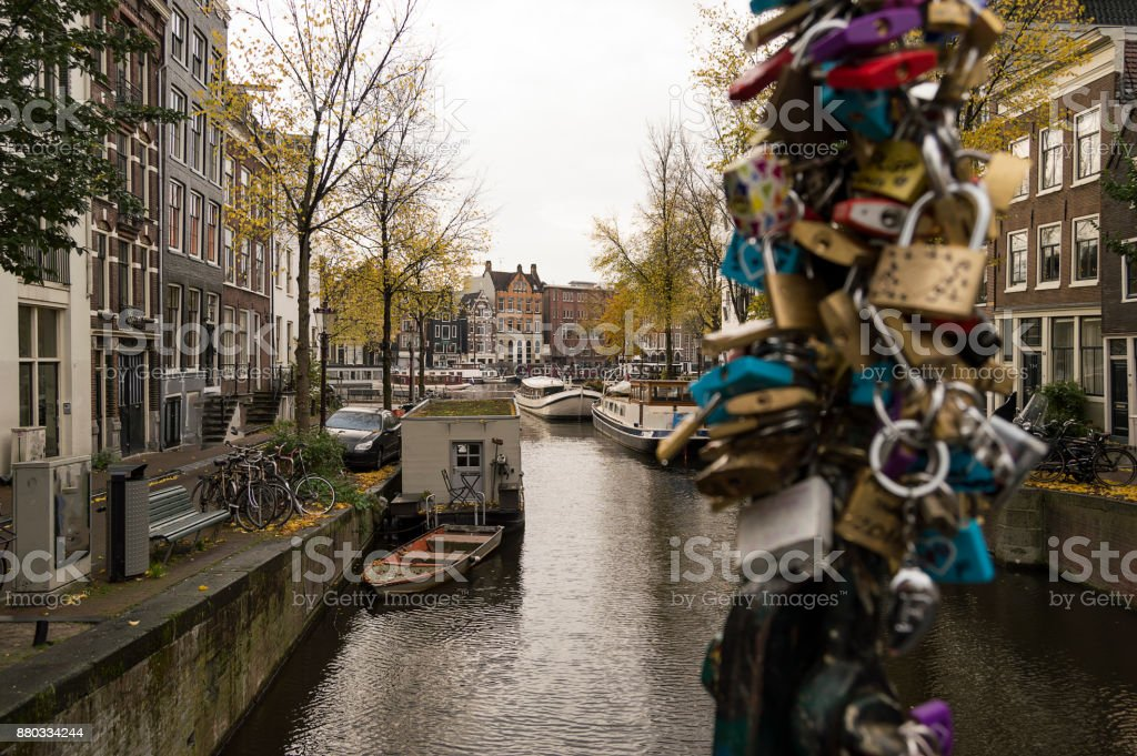 Amsterdam Holland The historic center of the city was built largely in the 17th century and is nowadays one of the largest historical centers in Europe. At that time a series of semicircular canals were built around the existing old town. Then the new str stock photo