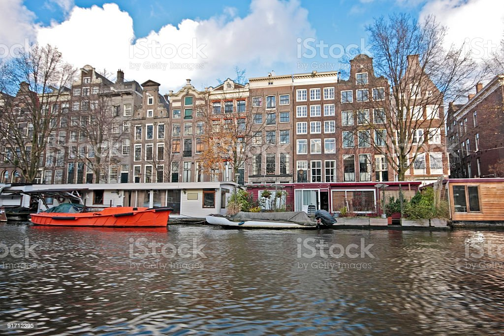 Amsterdam houseboats in the Netherlands royalty-free stock photo