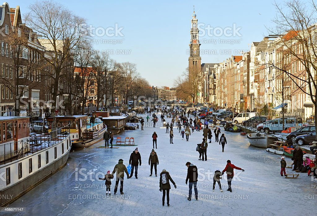 Amsterdam ice skaters stock photo