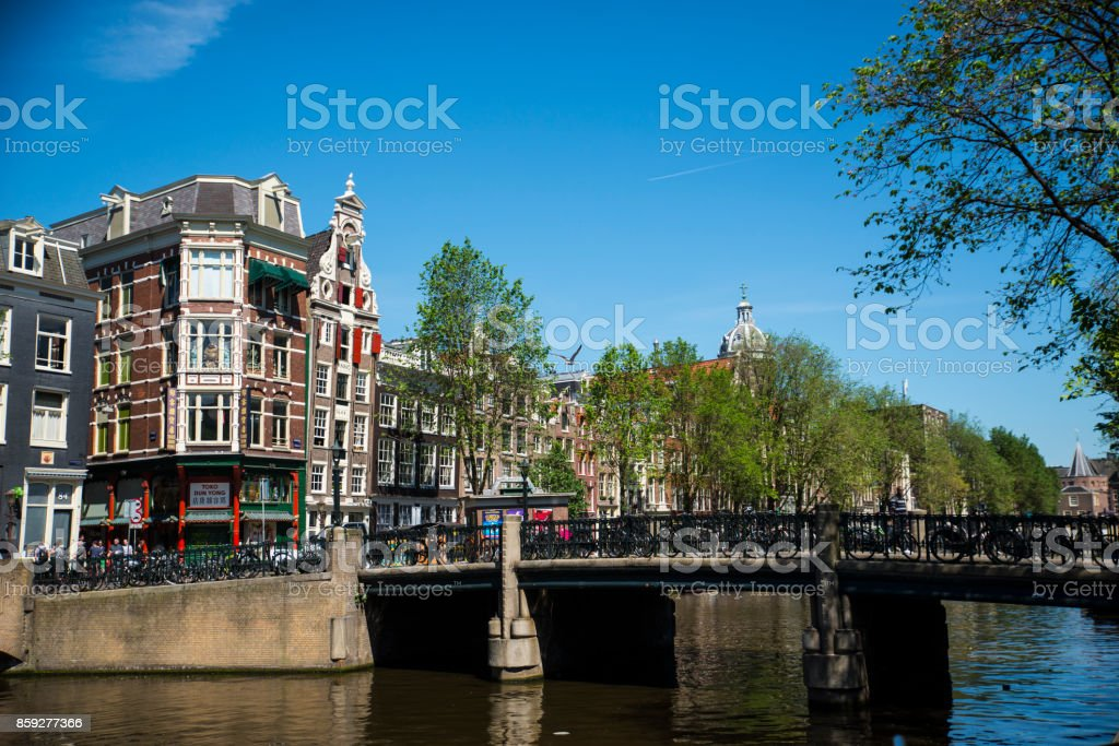 Amsterdam in summer, view of a bridge, Netherlands stock photo