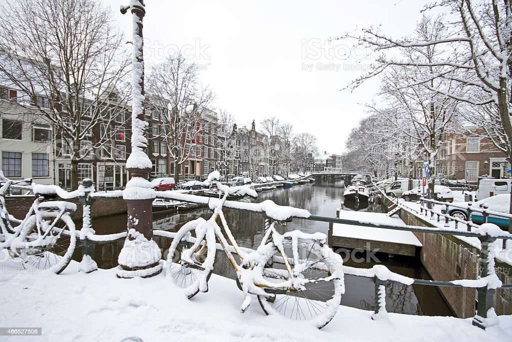 Amsterdam in winter the Netherlands stock photo