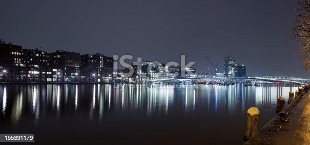 Amsterdam Java-eiland and Jan Schaeferbrug skyline at night, panorama