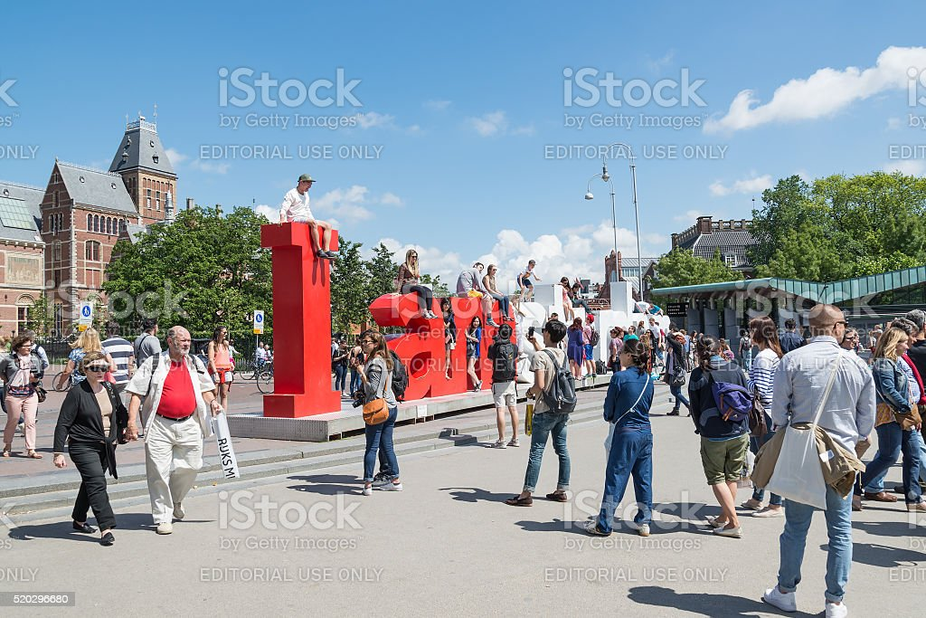 I Amsterdam letters. Located at Rijksmuseum, Amsterdam, Netherlands stock photo