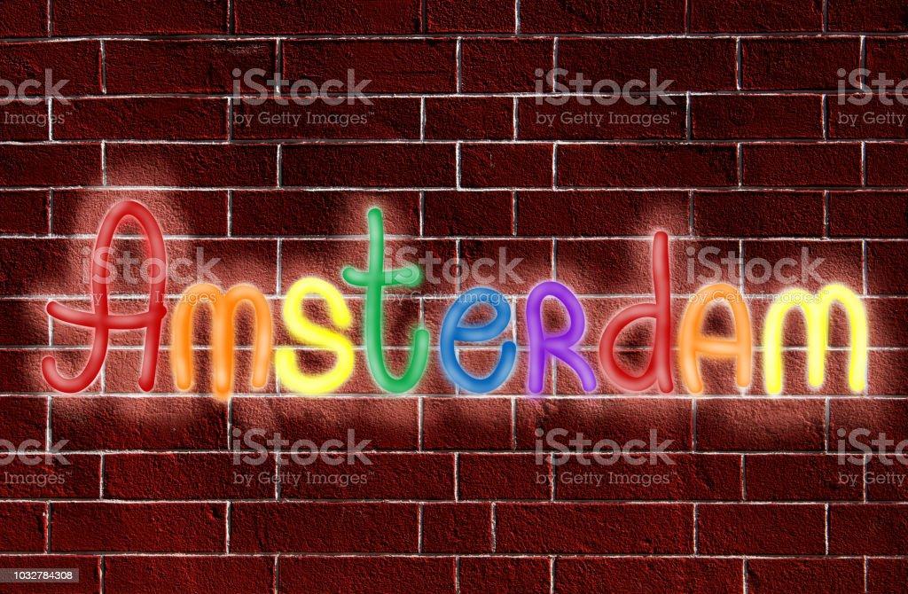 Logotipo de Amesterdão de néon - foto de acervo